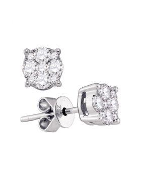 18kt White Gold Womens Round Diamond Cluster Stud Earrings 7/8 Cttw