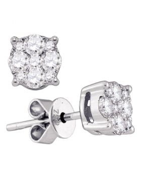 18kt White Gold Womens Round Diamond Cluster Stud Earrings 1-3/8 Cttw