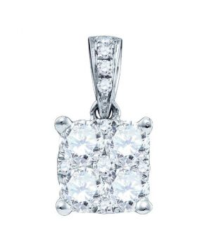 18K White Gold Womens Round Diamond Square Cluster Charm Pendant 1/2 Cttw