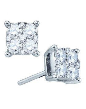 18kt White Gold Womens Round Diamond Square Cluster Screwback Earrings 1-1/2 Cttw