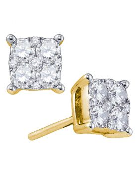 18kt Yellow Gold Womens Round Diamond Cluster Screwback Earrings 1/3 Cttw