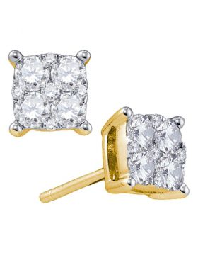 18kt Yellow Gold Womens Round Diamond Square Cluster Screwback Earrings 1-3/8 Cttw