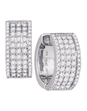 10kt White Gold Womens Round Diamond Huggie Earrings 1-3/4 Cttw