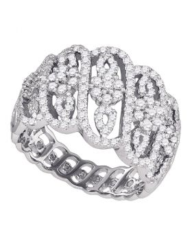 10kt White Gold Womens Round Diamond Striped Cluster Fashion Band Ring 1.00 Cttw