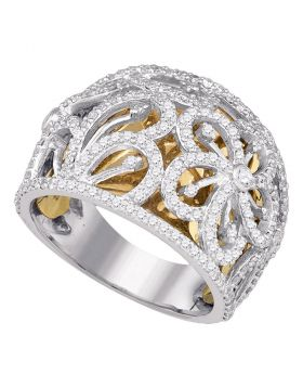 10kt Two-tone White Gold Womens Round Diamond Floral Openwork Band Ring 1.00 Cttw