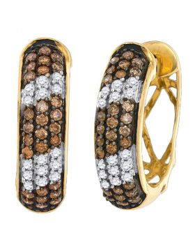 10kt Yellow Gold Womens Round Cognac-brown Color Enhanced Diamond Hoop Earrings 1.00 Cttw