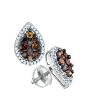 10kt White Gold Womens Round Brown Color Enhanced Diamond Teardrop Cluster Earrings 1.00 Cttw