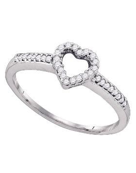 10kt White Gold Womens Round Diamond Heart Love Ring 1/8 Cttw