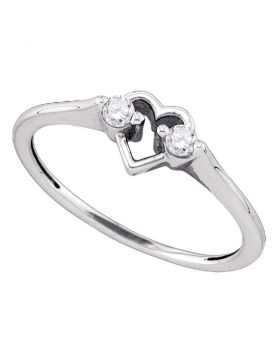 10kt White Gold Womens Round Diamond Heart Love Promise Bridal Ring 1/8 Cttw