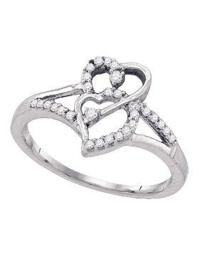 10k White Gold Womens Round Diamond Double Heart Promise Bridal Ring 1/6 Cttw