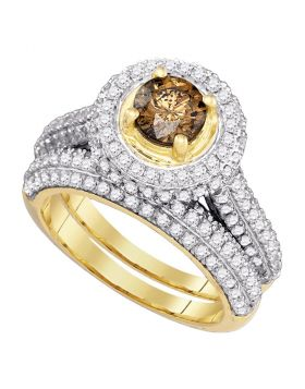 14kt Yellow Gold Womens Round Cognac-brown Color Enhanced Diamond Halo Bridal Wedding Engagement Ring Band Set 2.00 Cttw
