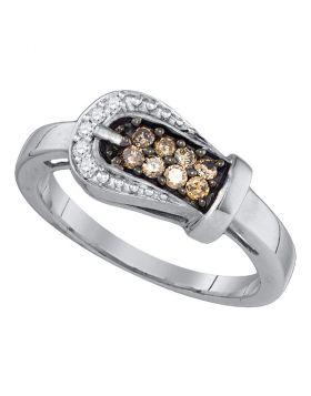 10kt White Gold Womens Round Cognac-brown Color Enhanced Diamond Belt Buckle Ring 1/4 Cttw