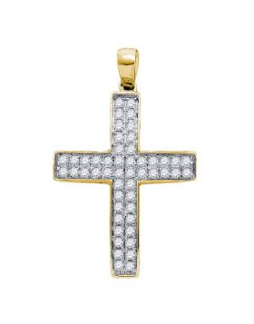 10kt Yellow Gold Womens Round Diamond Cross Pendant 1/2 Cttw