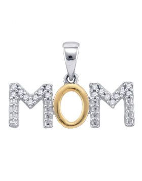 Sterling Silver White Diamond Mother Mom 2-tone Charm Pendant 1/10 Cttw