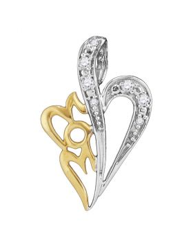 Sterling Silver Womens Round Diamond Mom Heart Pendant 1/8 Cttw