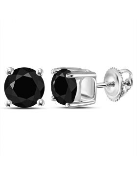 14kt White Gold Unisex Round Black Color Enhanced Diamond Solitaire Stud Earrings 2.00 Cttw