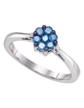10kt White Gold Womens Round Blue Color Enhanced Diamond Cluster Ring 1/4 Cttw