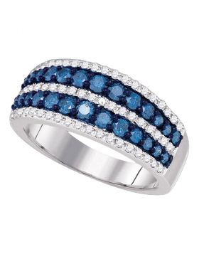 10kt White Gold Womens Round Blue Color Enhanced Diamond Striped Band Ring 1.00 Cttw