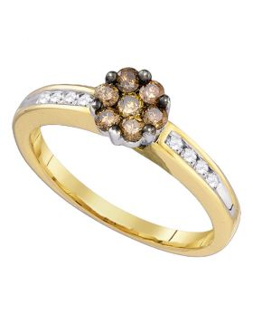10kt Yellow Gold Womens Round Cognac-brown Color Enhanced Diamond Cluster Ring 1/2 Cttw