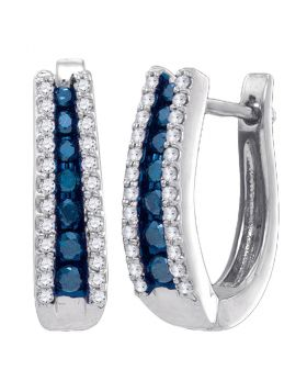 10kt White Gold Womens Round Blue Color Enhanced Diamond Hoop Earrings 1/2 Cttw