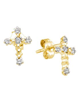 10kt Yellow Gold Womens Round Diamond Cross Religious Earrings 1/20 Cttw