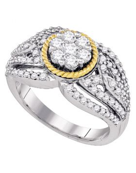 10kt Two-tone Gold Womens Round Diamond 2-tone Roped Cluster Ring 1 Cttw