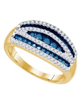 10k Yellow Gold Womens Blue Color Enhanced Round Diamond Striped Cocktail Band Ring 3/4 Cttw