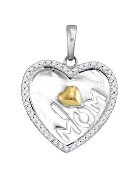 Sterling Silver Womens Round Diamond I Heart Mom Mother Pendant 1/8 Cttw