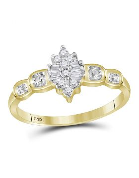 10kt Yellow Gold Womens Round Baguette Prong-set Diamond Oval Cluster Ring 1/10 Cttw