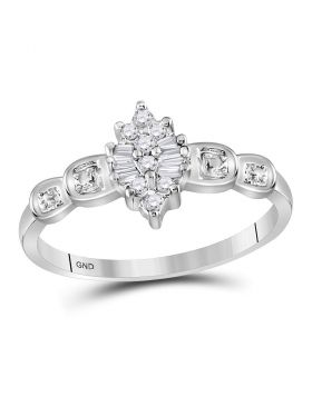 10kt White Gold Womens Round Baguette Prong-set Diamond Oval Cluster Ring 1/10 Cttw