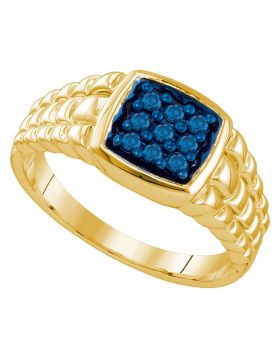 10K YELLOW GOLD BLUE-COLORED DIAMOND CLUSTER SQUARE-SHAPE BAND RING 1/4 CTTW