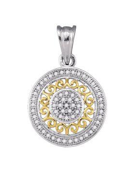10kt Two-tone Gold Womens Round Diamond Circle 2-tone Pendant 1/6 Cttw