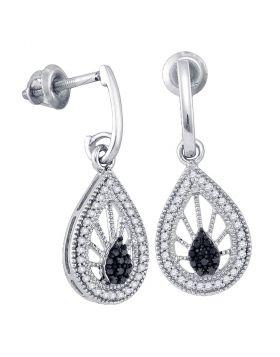 10kt White Gold Womens Black Color Enhanced Diamond Teardrop Dangle Earrings 1/3 Cttw