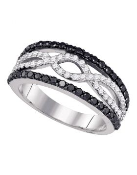 10kt White Gold Womens Round Black Color Enhanced Diamond Band Ring 1.00 Cttw