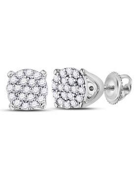10kt White Gold Womens Round Diamond Cluster Earrings 1/8 Cttw