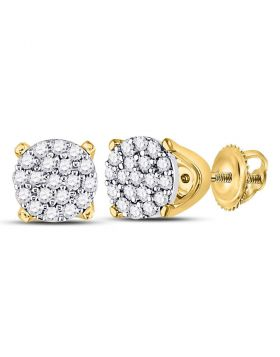 10kt Yellow Gold Womens Round Diamond Cluster Earrings 1/8 Cttw