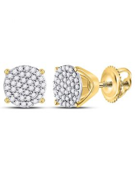 10kt Yellow Gold Womens Round Diamond Circle Cluster Stud Earrings 1/4 Cttw