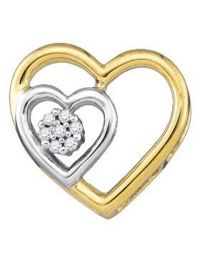 10kt Yellow Gold Womens Round Diamond Heart Love Pendant .03 Cttw