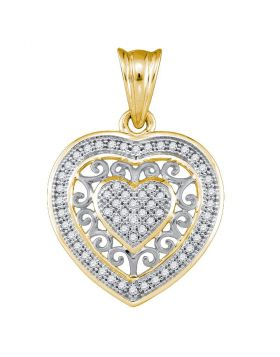 10kt Yellow Gold Womens Round Diamond Openwork Heart Cluster Pendant 1/6 Cttw