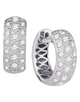 14kt White Gold Womens Round Diamond Huggie Earrings 3/4 Cttw