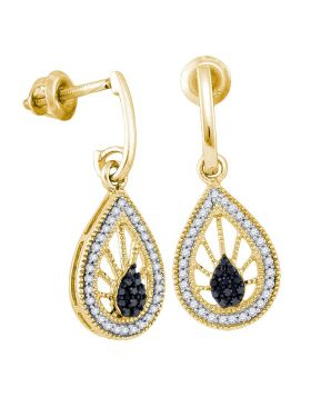 10kt Yellow Gold Womens Black Color Enhanced Diamond Teardrop Dangle Earrings 1/3 Cttw