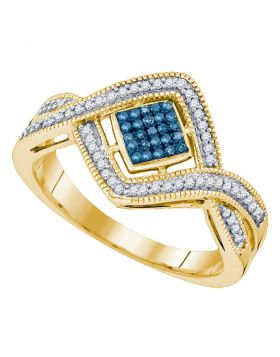 10kt Yellow Gold Womens Round Blue Color Enhanced Diamond Square Frame Twist Cluster Ring 1/6 Cttw