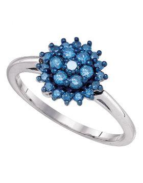 10kt White Gold Womens Round Blue Color Enhanced Diamond Flower Cluster Ring 1/2 Cttw