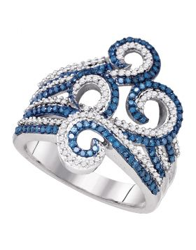 10kt White Gold Womens Round Blue Color Enhanced Diamond Wide Swirl Curl Cocktail Ring 3/4 Cttw