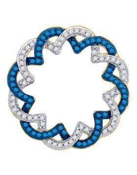 10kt Yellow Gold Womens Round Blue Color Enhanced Diamond Circle Pendant 1/3 Cttw
