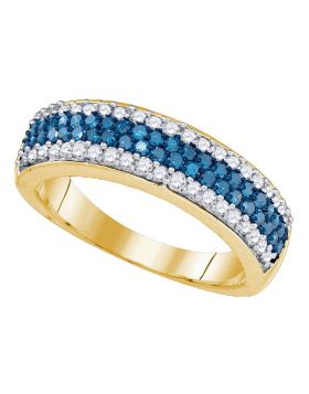 10kt Yellow Gold Womens Round Blue Color Enhanced Diamond Striped Band Ring 7/8 Cttw