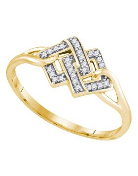 Yellow-tone Sterling Silver Womens Round Diamond Linked Square Cluster Ring 1/12 Cttw