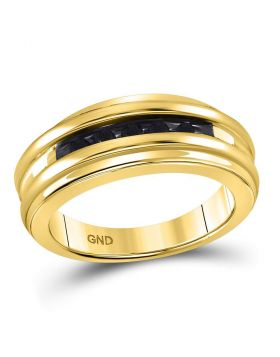 10KT YELLOW GOLD ROUND BLACK COLOR ENHANCED DIAMOND BAND RING 1/4 CTTW