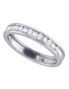 14kt White Gold Womens Round Baguette Diamond Wedding Band 1/2 Cttw