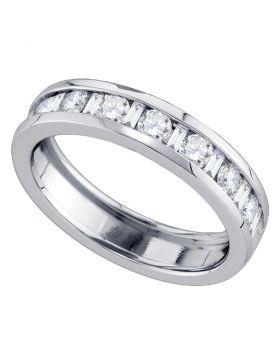 14kt White Gold Womens Alternating Round Baguette Diamond Single Row Wedding Band 1.00 Cttw